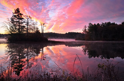Sunrise at Quittacus Lakeville/Rochester, Ma  I am so fortunate to live near here. The hard part is dragging myself out of bed! Gorgeous misty, frosty morning.